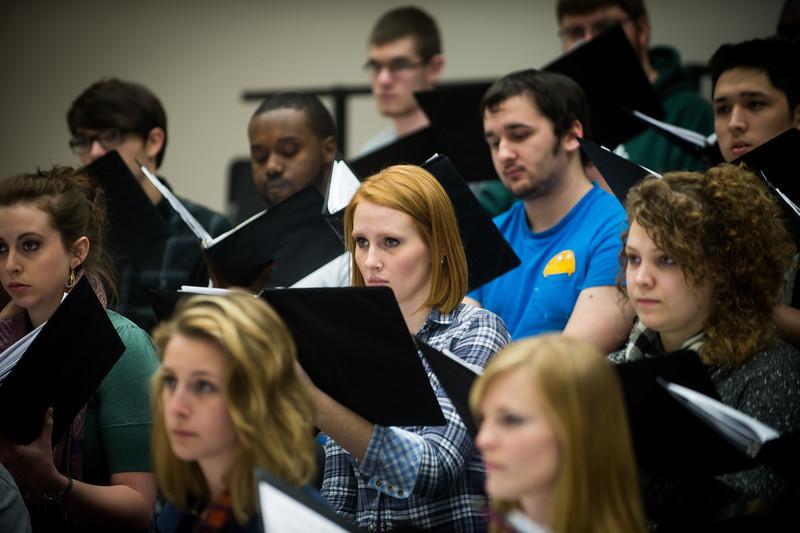 Concert Choir practicing