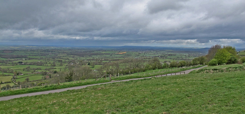 The view Northwest from Ibberton Hill -  the unusually shaped Duncliffe Hill is just visible behind the clump of bushes to the right.