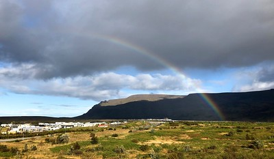 Rainbow as we are leaving Reykjavik