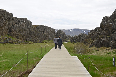 Boardwalk along the rift between continental tectonic plates