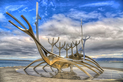 Sun Voyager sculpture in Reykjavik harbor