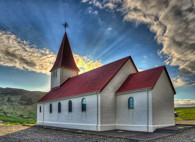 Church in Vik - evening light, ~ 10:30PM