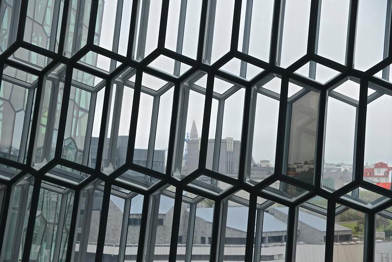 Gridwork of windows in Harpa - Concert hall in Reykjavik