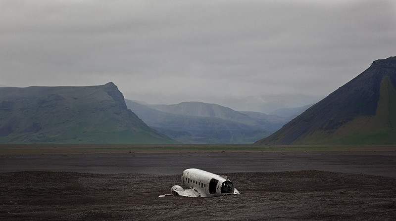 Wreckage of plane at Solheimasandur