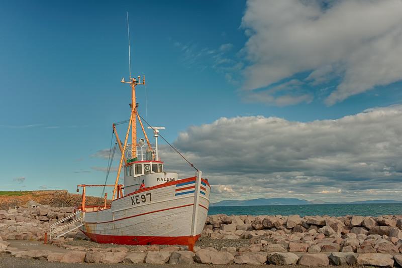 Innovative fishing boat, Baldur, on display in Keflavik harbor