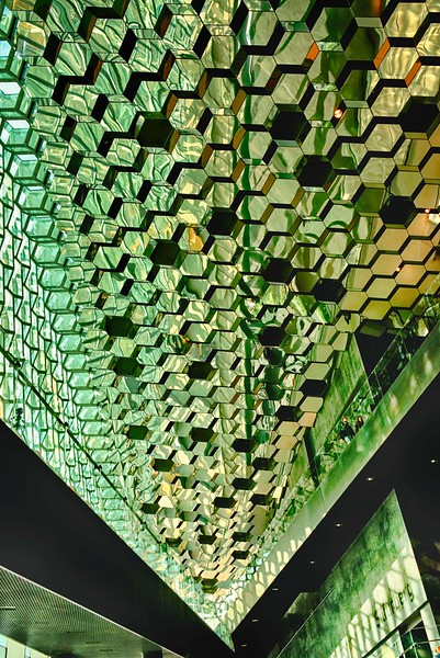 Interior view of Harpa, a glass enclosed cultural arts center in Reykjavik