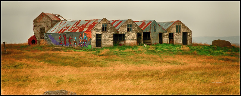 Abandoned farm buildings near Borganes