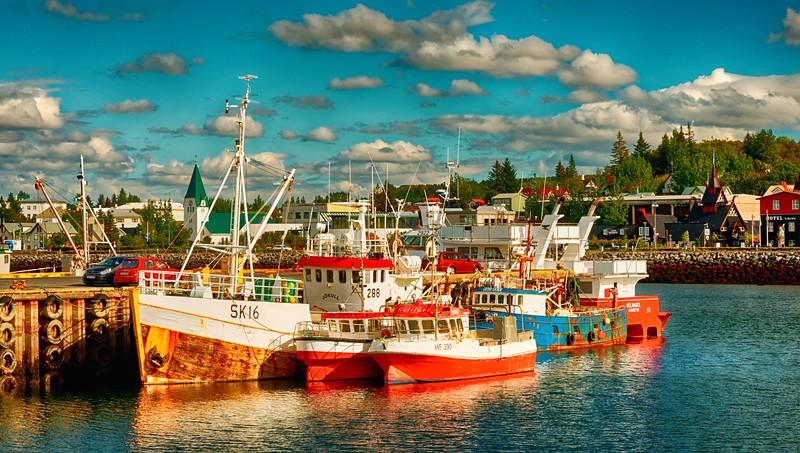 Colorful harbor at Keflavik