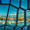 View from inside the Harpa of the Marina.