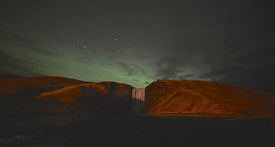 Northern lights over Skogafoss