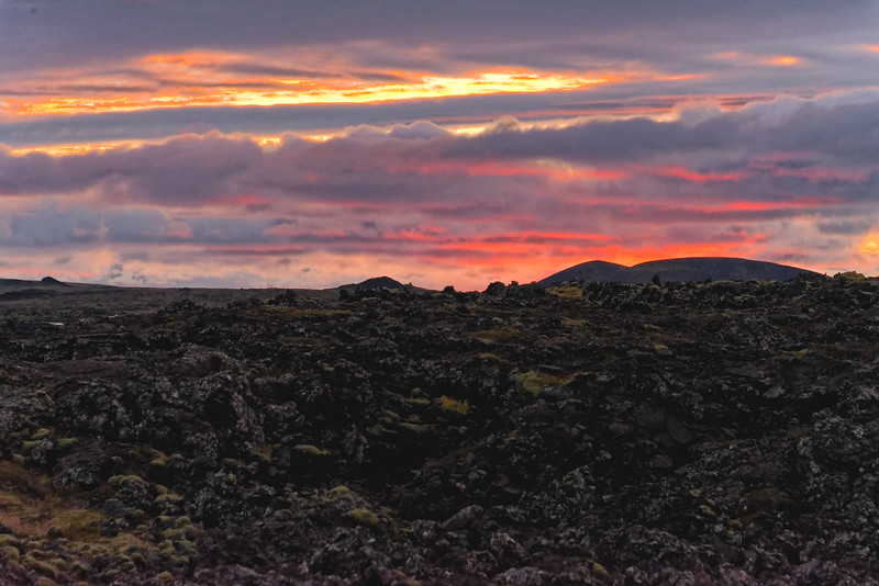 Sunset over a lava field, Grindavik