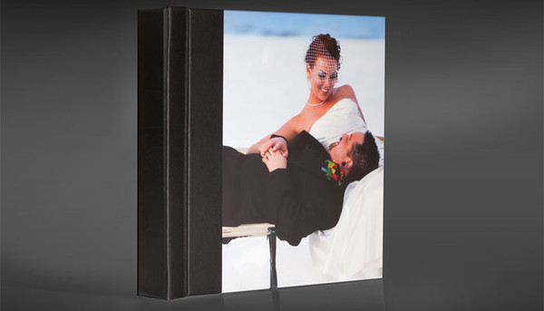 Wedding Album with a Photo Cover. The back of the album can be a second Photo Panel or your choice of Cover Material.