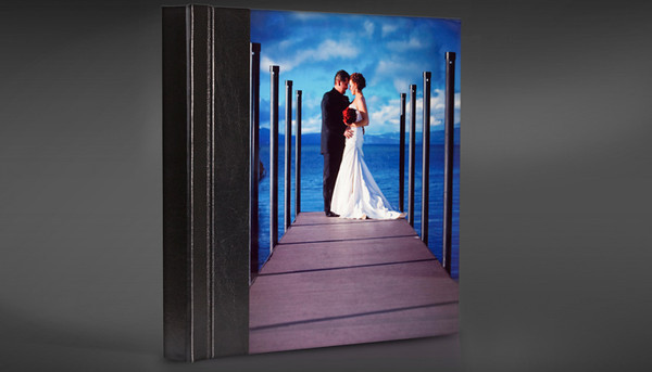 Wedding Album with a Metal Print Photo Cover. The back of the album can be a second Metal Print or your choice of Cover Material.