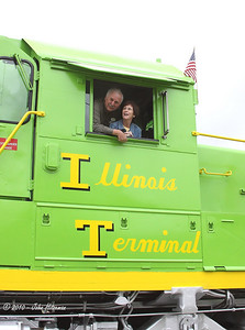 "Illinois Traction Society President and former Illinois Terminal RR Special Agent, Dale Jankins and his wife, Judy, in the cab of IT 2301 during the photo session at the ITS meet. Dale's work with Terry Respondek to coordinate the painting and lettering, with the help of volunteers, resulted in the ""visage"" of IT 2301 seen here. Judy was the Engineer of 2301 when it was ""rolled out"" for the first time in front of the assembled IT fans."