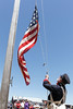 The 28-star flag gets raised during a partial re-enactment of Commodore John Drake Sloat returning to Monterey at the 169th Annual Sloat Landing Commemoration at the Custom House Plaza on Sunday, July 5, 2015 in Monterey, Calif. (Vernon McKnight/Herald Correspondent)