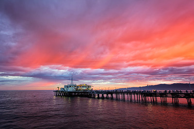 """Pier Red Sunset #1"" Santa Monica, CA  19"" x 13"" archival print  $700 framed - 24"" x 18"" frame with white mat  $500 unframed print with white mat  Signed & Numbered Limited Edition of 5 of this size"