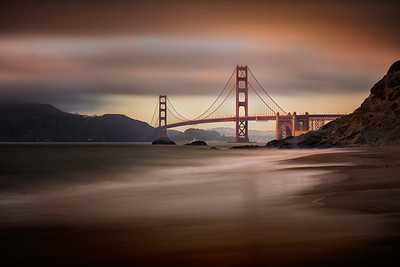 """Last Light, Baker Beach"" San Francisco, CA  19"" x 13"" archival print  $700 framed - 24"" x 18"" frame with white mat  $500 unframed print with white mat  Signed & Numbered Limited Edition of 5 of this size"
