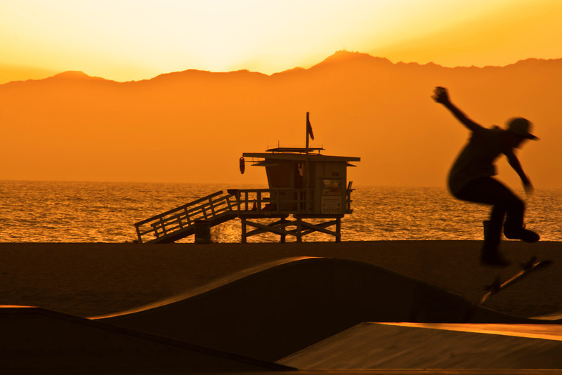Board in Venice- <br /> <br /> Venice Skate Park, Venice Beach, CA.