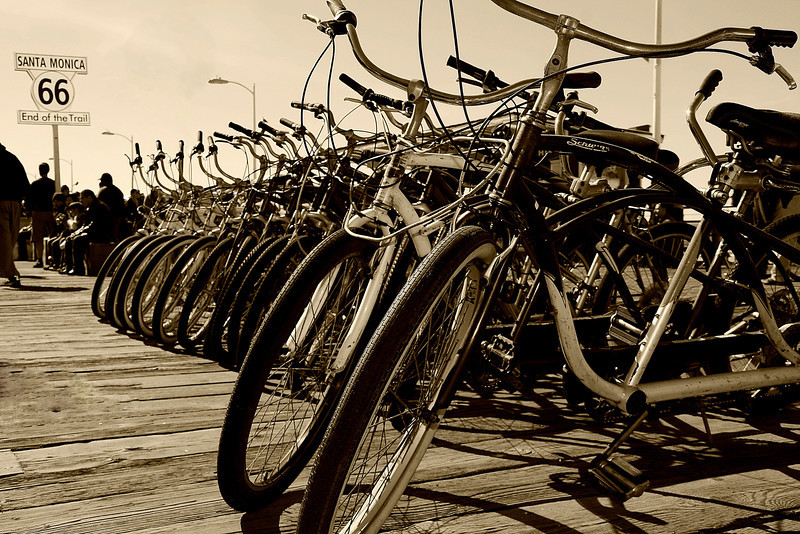 End of the Trail~<br /> <br /> Bikes on the Santa Monica Pier @ the end of Route 66.  Santa Monica, Ca.