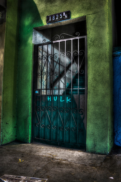 The Incredible Door~<br /> <br /> Colorful gated entrance to oddly marked Hollywood apartment