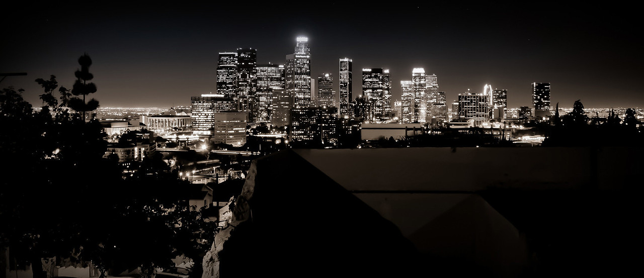L.A. Noir~<br /> <br /> Downtown L.A. skyline at night<br /> <br /> Los Angeles, Ca.