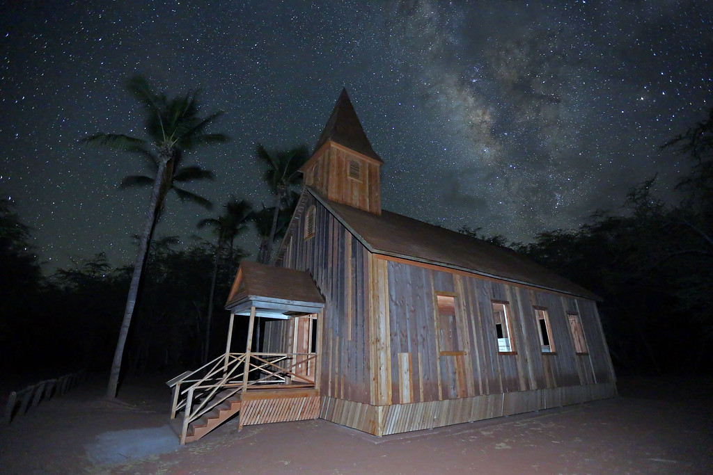 Keomoku Church & Milky Way - Island of Lana'i, Hawaii.   There is no electricity at this remote location.   I had to use strobes to light both the inside and outside of this old building... while I did a time exposure to capture the Milky Way in the night sky.   An amazing example of God's beautiful creation.
