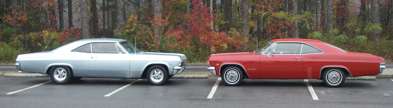 November 20, 2011.  With Rod's blue '65.