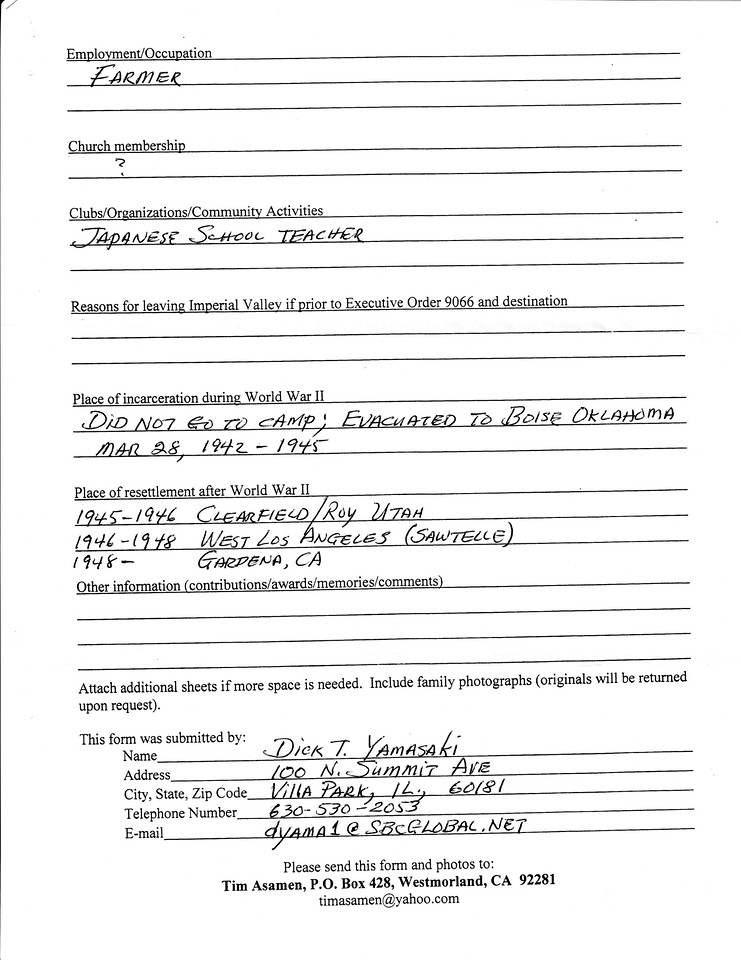 Japanese American Family History Form page 2/2