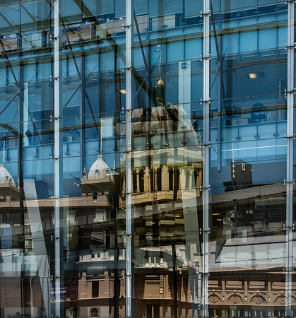 Melbourne Royal Exhibition Reflected in Glass of Melbourne Museum