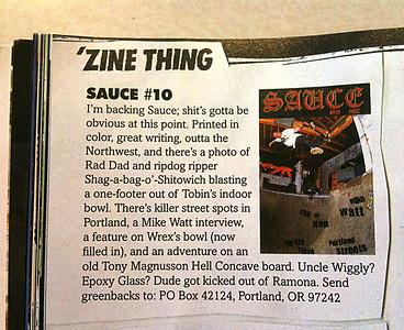 """SAUCE #010 Thrasher Magazine's """"Zine Thing"""" December 2010"""