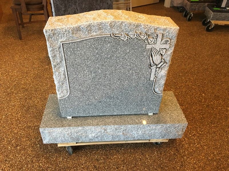 Barre Grey Single Monument with Shaped carved Cross with Praying Hands