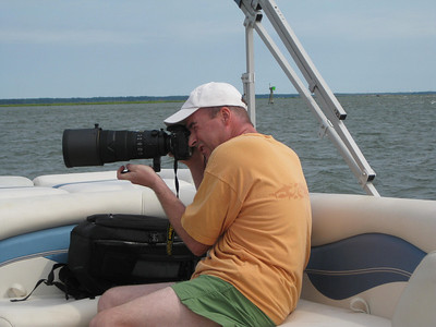 Trying to get pictures of the wild ponies on Assateague Island. Not easy handholding 10 lbs. of gear on a moving boat!