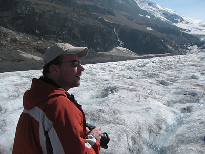 Standing on the Columbia Icefield Glacier in Jasper National Park, Alberta, Canada.