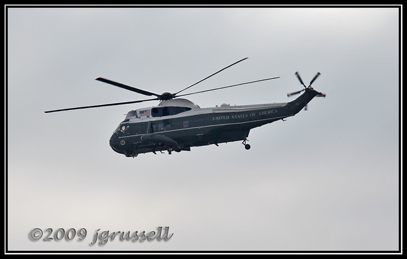 The Bush helicopter leaving