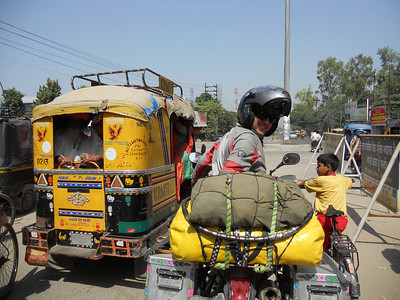 Leaving Amritsar. 'Safe' at the front of the line of traffic at the lights.