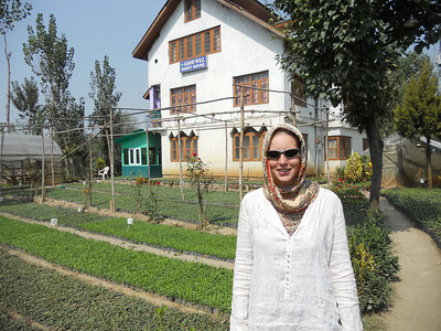 Our guesthouse in Srinagar is also a garden nursery. (I'm back in head-scarf mode as Kashmir is a Muslim region).