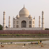 The Taj Mahal as seen from across the (almost dry) Yamuna river. Notice how small the people on its base are!
