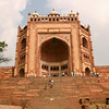 The imposing entrance of the mosque at Fatehpur Sikri, near Agra, India. Fatehpur was one of the three capitals of the Mughal Empire (along with Agra and Delhi), constructed in the late 1500's by Akbar the Great.