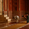 Prayer time at the mosque in the Taj Mahal complex