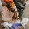 A snake charmer on the streets of Delhi