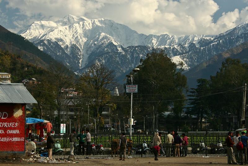 A peak of the Dhaula Dhar range towers over Chamba town, Himachal Pradesh