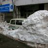Heavy snows bury a van in Dalhousie, Himachal Pradesh, India