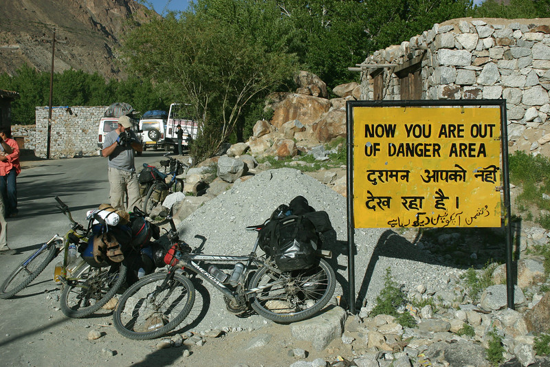 Several years before our trip, Kargil was the site of a war between India and Pakistan. The Line of Control runs along the ridgeline overlooking the highway, and during the war the road was regularly shelled. This sign apparently marks the end of the danger zone. Funny enough, we came across this sign first with no prior warning of 'danger' and were quite surprised. On the back side was the sign in the next picture.