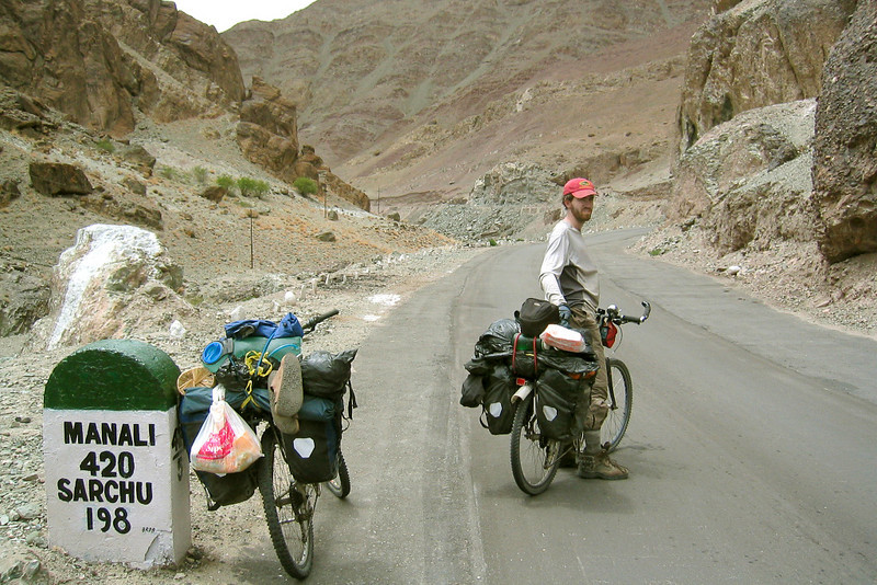 "Photo courtesy of Gabe McGann. Just 420 km and five mountain passes across the Himalaya to Manali, our destination! Here we turned south off the Indus Valley and started up toward the world's ""second-highest motorable road,"" the Taglang La at 17,582 ft."
