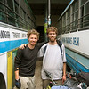 Photo courtesy of Gabe McGann. Gabe and I prepare to part ways at the Manali bus stand after the journey of a lifetime.