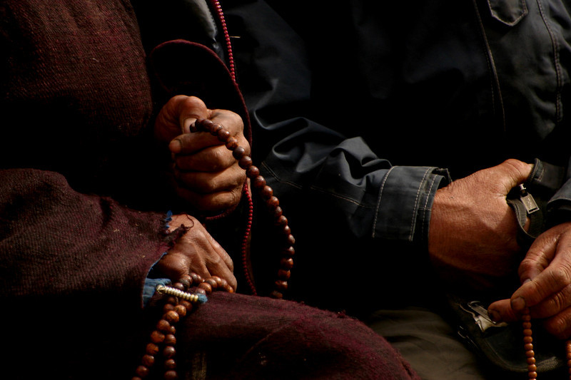 Tibetan Buddhist prayer beads. It's interesting to me that the use of prayer beads is found in some forms of Buddhism, Islam and Christianity.