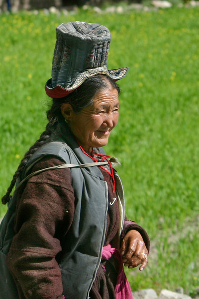 Photo courtesy of Gabe McGann. A Ladakhi woman with her traditional hat.