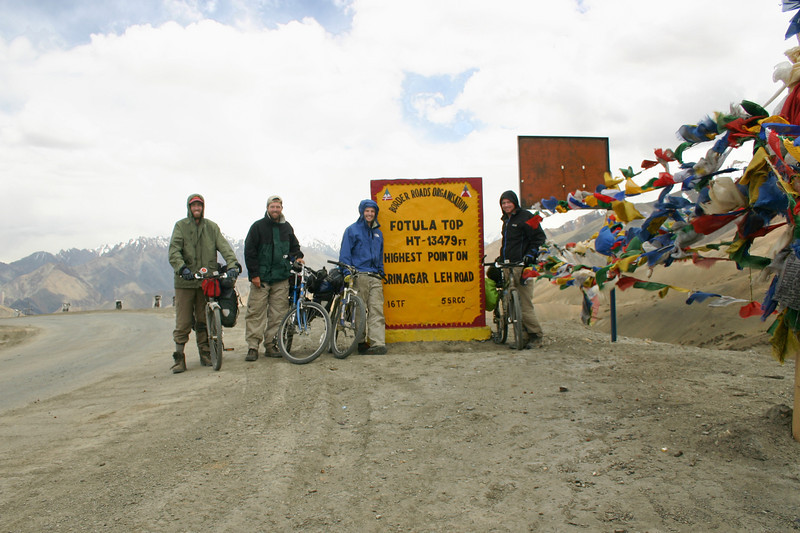 At 13,479 feet, Fotu La is the highest point on the road between Srinagar and Leh. At right, Tibetan prayer flags wave in the strong wind.