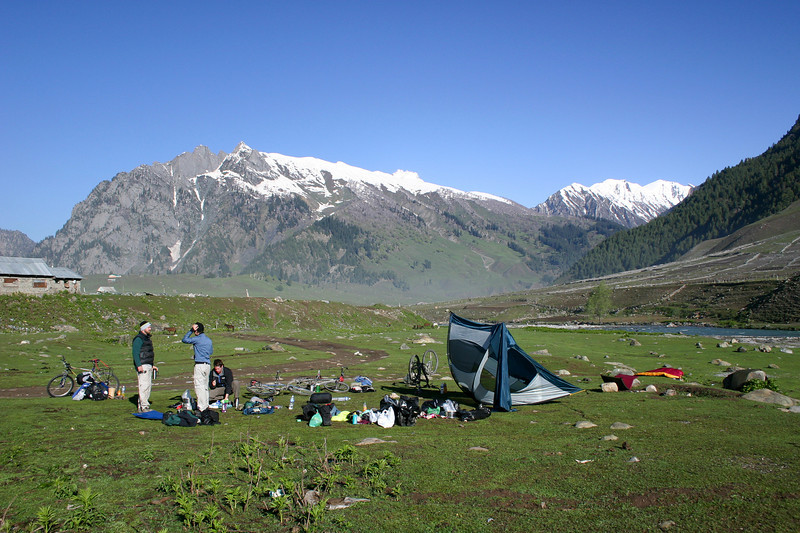 Drying out our tent after our first night, outside Sonamarg