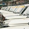 Taxis lined up and ready to go. Anantnag, Kashmir